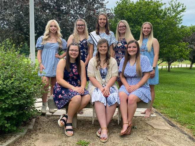 The 2021 Owen County Fair Queen contestants were recently announced. They are, front row, from left: Kristi Arnold, Haley Amick and Hannah York. Back row: Samantha Strouse, Kara Bault, 2019 Queen Kara Schafer, Kaylynn Nanny and Elizabeth Beeman.
