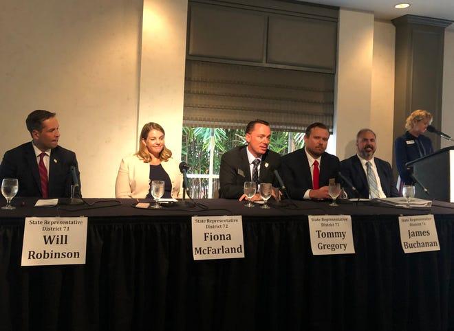 The Sarasota County legislative delegation participated in a Sarasota Tiger Bay Club panel discussion Thursday.
