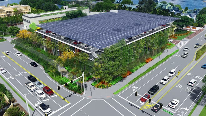 The first phase of the Marie Selby Botanical Gardens master plan includes a 450-car parking garage topped by a 50,000-square-foot solar panel array.