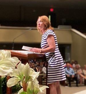 Dr. Karen Barber addresses graduatesof Locklin Technical College class of 2021 June 1 in Milton.
