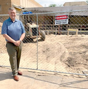 Ron Moag, superintendent at Three Rivers Community Schools, said work at the main entrance to Hoppin Elementary is significant, so crews began the task in April.