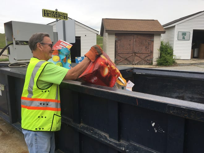 Willimantic Waste Co. employee Jim Duffy at the Killingly transfer station on Thursday.