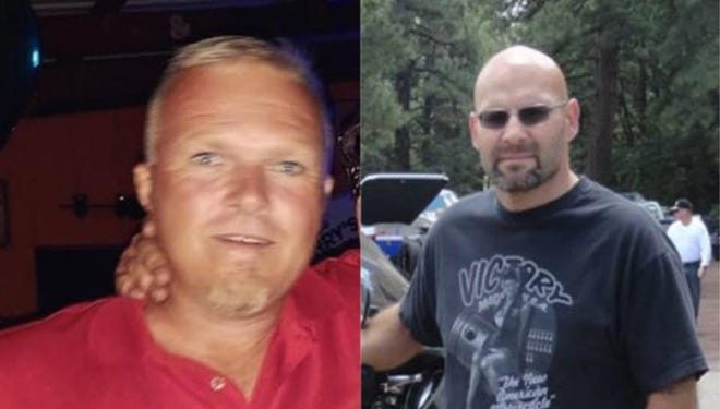 """Jesse Henson, on the right, and Damien """"Craig"""" Burchett, on the left, were killed in a 2018 accident at Jeffrey Energy Center near St.Marys."""