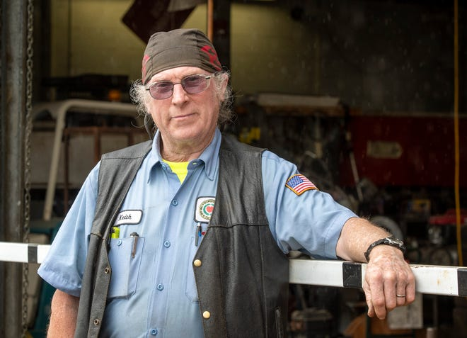Keith Karrmann works at Worcester's Department of Public Works and Parks Department garage on Thursday.