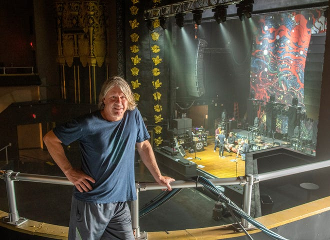 John Peters inside The Palladium, where the Westfield metal band Killswitch Engage is using the stage for rehearsing.