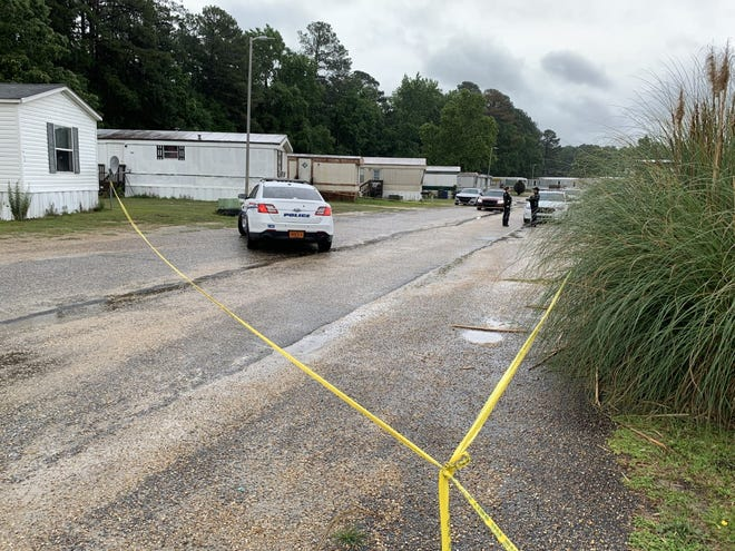 Crime scene tape was outside a mobile park following a fatal shooting there June 3.