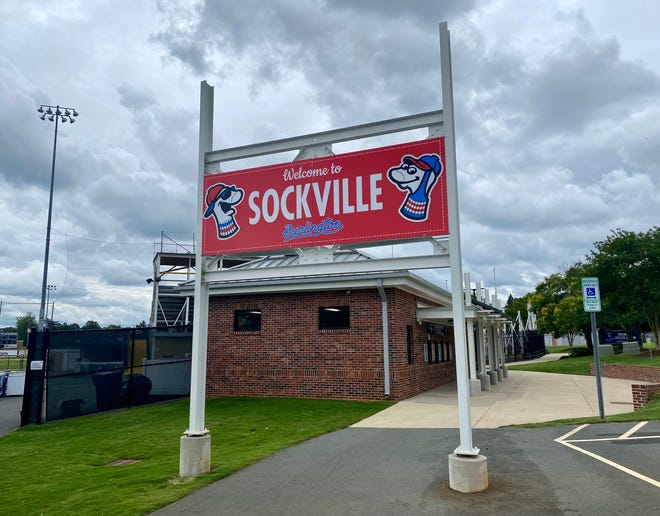 """A """"Welcome to Sockville"""" sign will welcome spectators to Burlington Athletic Stadium when the Sock Puppets play host to Danville in the home opener Saturday night."""