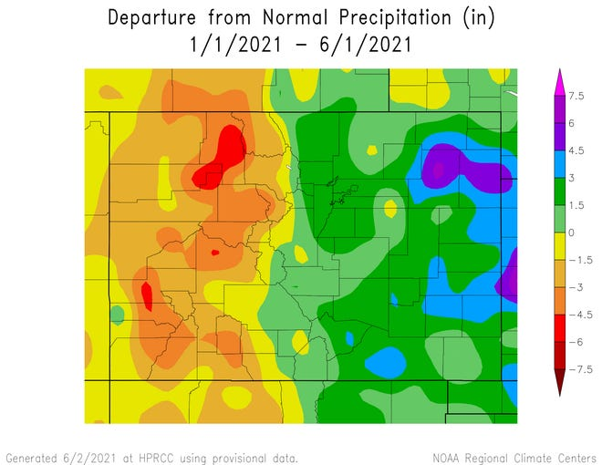 The National Oceanic and Atmospheric Administration released a map on June 2, 2021 depicting the departure from normal precipitation in inches.