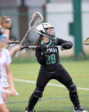 Dublin Coffman defender Abigail Elliot battles with Loveland midfielder Bella Dilhoff  in a Division I state semifinal on Wednesday.