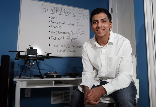 Olentangy Liberty High School student Nithin Naikar, 15, is developing HealthDrone, an autonomous medical drone, to provide baseline assessments in places without access to medical care or a reliable internet connection. The project has earned several awards, including from the International Council on Systems Engineering and Air Force Research Laboratory. Naikar is pictured with his drone May 27 in Powell.