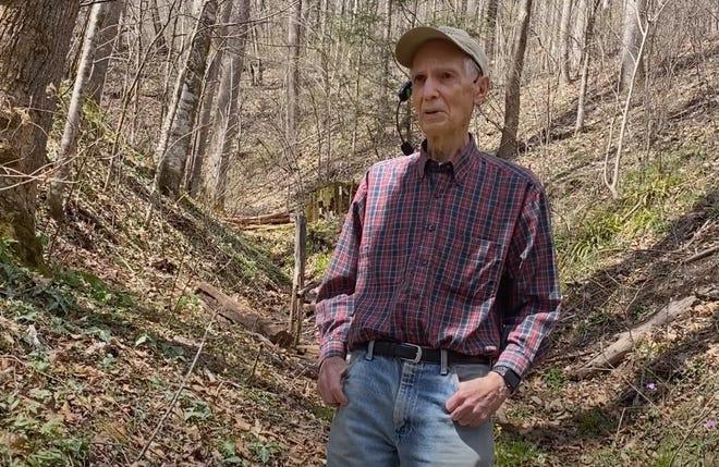 Dr. Dan Pittillo educating visitors about plants on his Nodding Trillium Garden property near Sylva.