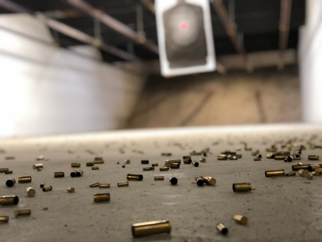 Ammunition is strewn across the floor after a shooting session at Nichols Guns - Indoor Shooting Range & Gun Shop in Corpus Christi, Texas.