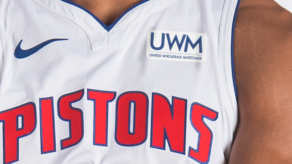 The United Wholesale Mortgage patch replaces Flagstar Bank on Pistons' jerseys.