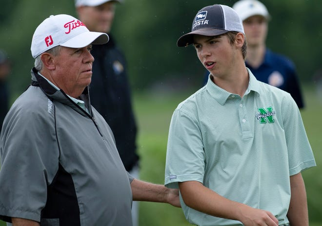 North Golf Coach Keith Bagby talks with Ottie Droste after the third hold of the the IHSAA Boys Golf Sectional at Helfrich Hills Golf Course in Evansville Thursday morning, June 2, 2021.