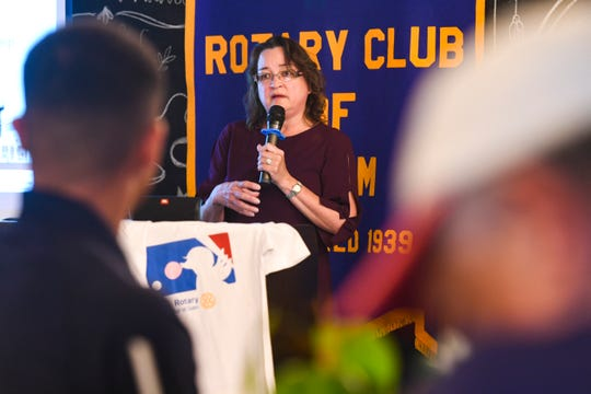 Mary Okada, Guam Community College president, describes the various training camps the college has launched, as she speaks to Rotary Club of Guam members at the Three Squares restaurant in Tamuning on Thursday, June 3, 2021.
