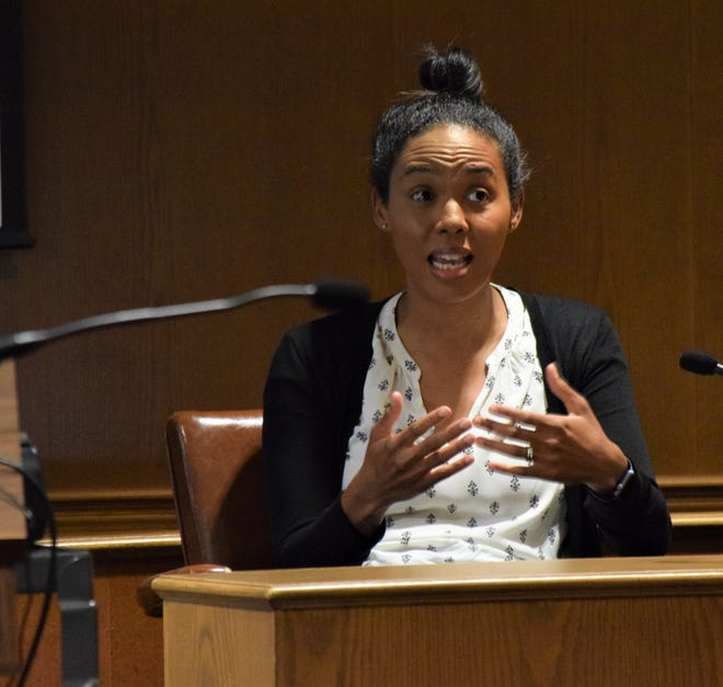 Dr. Markita Suttle, a pediatric intensive care doctor with Nationwide Children's Hospital, testifies during Amie Wright's jury trial Thursday, June 3. Wright is facing one count each of murder, involuntary manslaughter and child endangerment for her alleged involvement in the death of Annalise Murphy in 2019. Suttle treated Annalise at the hospital before her death.