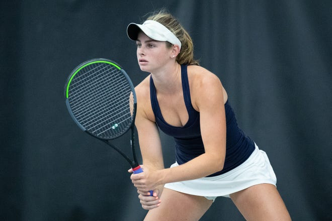 Sacred Heart senior Carrie Beckman prepares to receive a serve during the KHSAA singles tennis final on Thursday, June 3, 2021, at Top Seed Tennis Club in Nicholasville, Kentucky.