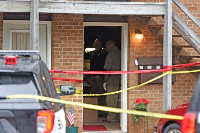 Mansfield police investigate the scene of a stabbing at 930 Brookfield Drive, Apartment 1, on Thursday morning.