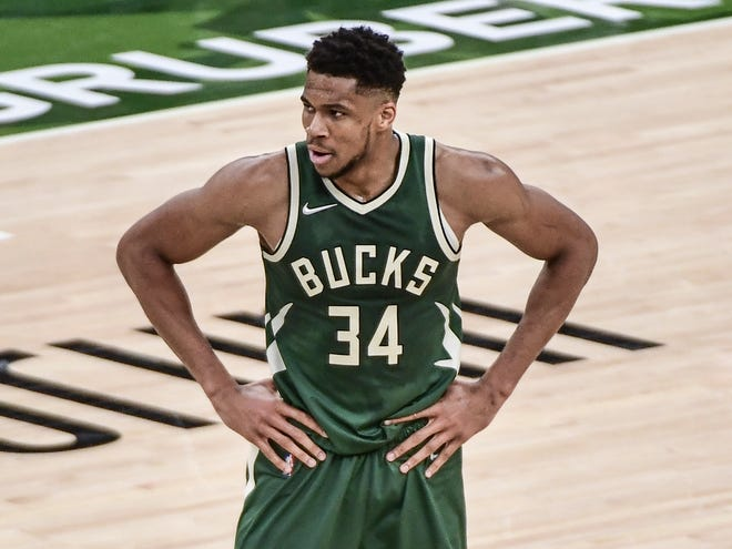 Bucks forward Giannis Antetokounmpo reacts during a game against the Orlando Magic at Fiserv Forum on May 11.