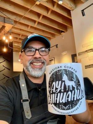 Robert Sanchez operates Ay! Chihuahua coffee. The logo honors his own chihuahua, Reyna.