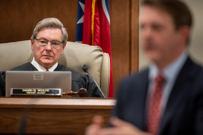 Circuit Judge David D. Wolfe listens to opening statements from District Attorney Ray Crouch during the first day of Joseph Daniels' trial at Dickson County Justice Center on Thursday, June 3, 2021, in Charlotte, Tenn. Daniels is charged with murdering his 5-year-old son, Joe Clyde in 2018.