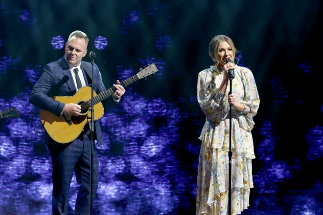 Matthew West and Carly Pearce perform onstage during the 2021 K-LOVE Fan Awards on May 30, 2021 in Nashville, Tennessee.
