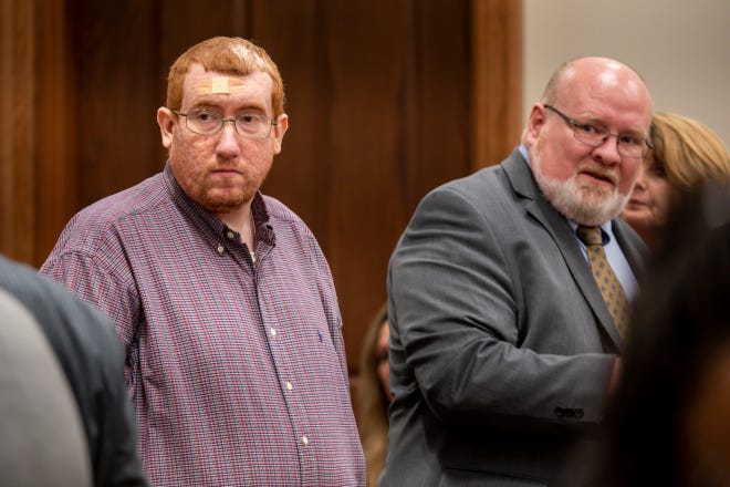 Joseph Daniels enters the courtroom on the first day of his trial before Circuit Judge David D. Wolfe at Dickson County Justice Center on Thursday, June 3, 2021, in Charlotte, Tenn. Daniels is charged with murdering his 5-year-old son, Joe Clyde in 2018.