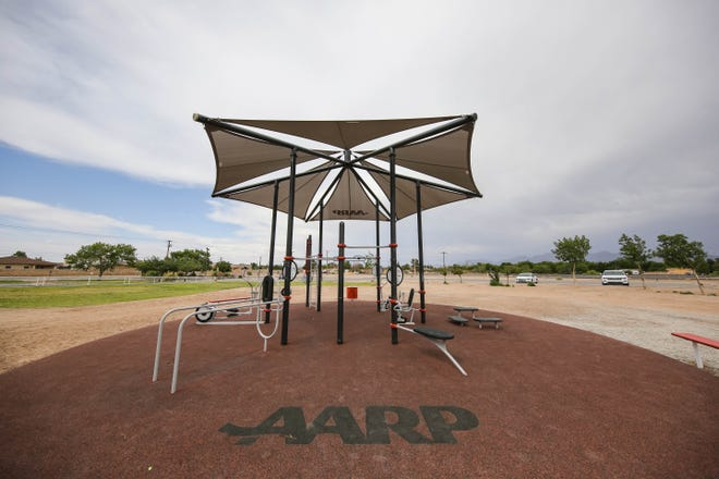An AARP-sponsored fitness park is pictured at the Henry Benavidez Community Center in Las Cruces on Thursday, June 3, 2021.