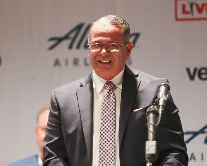 Riverside County Supervisor V. Manuel Perez speaks during the groundbreaking of the Coachella Valley Arena at the Classic Club in Thousand Palms, June 2, 2021.