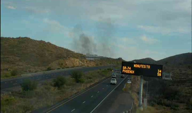 A brush fire closed Interstate 17 near Cordes Lake on June 2, 2021.