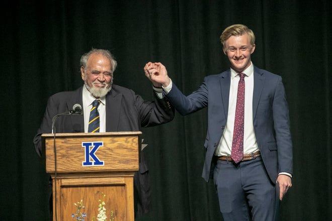 Herbert V. Kohler, Jr., Executive Chairman, Kohler Co., with Alexander Holland, right, recipient of the Herbert V. Kohler Scholarship, arm is raised with Kohler, May 26, 2021, in Kohler, Wis.
