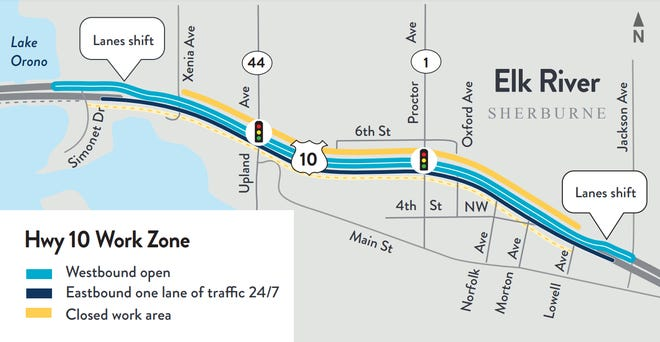 Construction work on Highway 10 in Elk River will cause traffic impacts from June 3, 2021 as workers shift lanes to work on the westbound side of the highway.