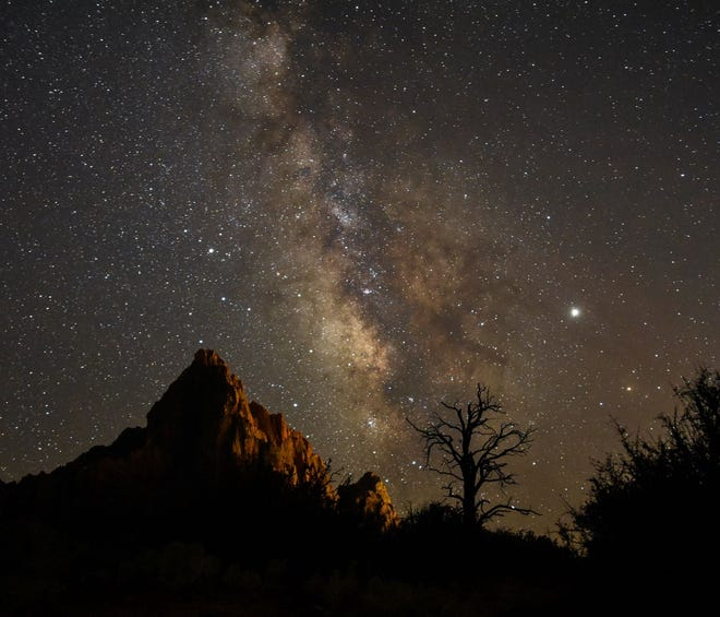 The Watchman from Pa'rus in Zion National Park, which was certified as an International Dark Sky Park on June 3, 2021.
