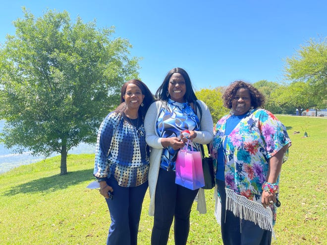 Rosalind, Quantina, and Nettie with a care package.  Mothers In Crisis is launching the 10,000 Balls for Hope Campaign and Essay Contest.