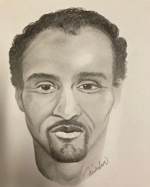 A composite drawing of one of two suspects involved in a bank robbery and homicide in Thousand Oaks from 1997.