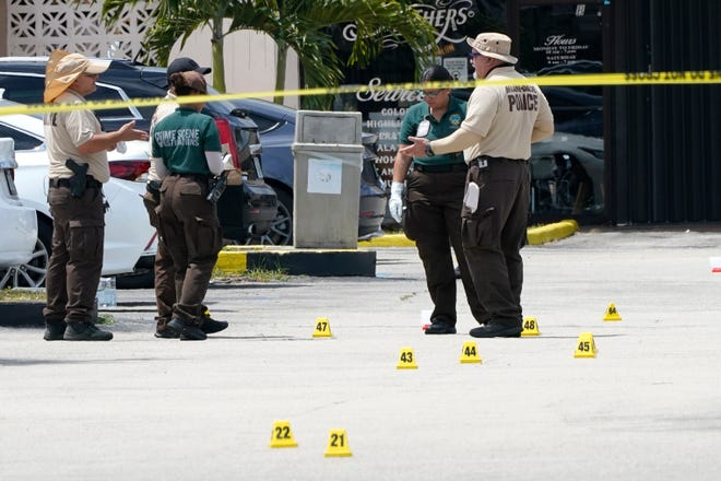 After a mass shooting outside a banquet hall near Hialeah, Fla., on May 30, 2021. Two people died and 21 were injured.