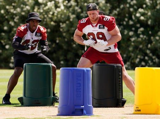 Arizona Cardinals defensive lineman J.J. Watt takes part in voluntary Organized Team Activities at Dignity Health Training Facility on June 2.