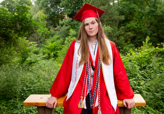 Paxton Smith, Lake Highlands High School valedictorian, poses for a photo, Wednesday, June 2, 2021, in Dallas.