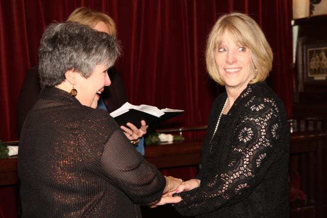 Jackie Cassara, left, and Kate Matthews marry in New York in 2014.