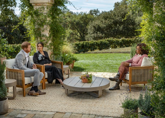 Oprah Winfrey interviews Prince Harry and Meghan, the Duchess of Sussex, on A CBS Primetime Special aired March 7, 2021.