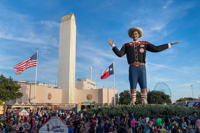 Big Tex presides over the State Fair of Texas in Dallas' Fair Park. After the pandemic canceled it last year, the fair will take place this fall from Sept. 24 to Oct. 17.