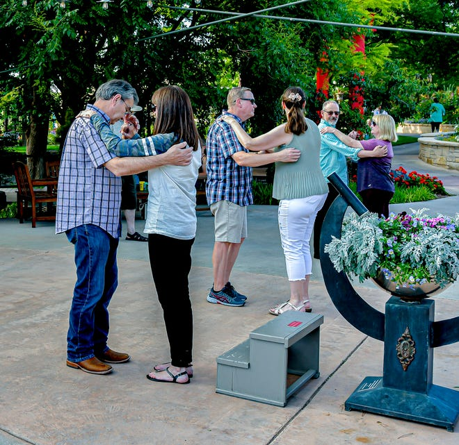 Members fo the community participate in a free dance class during Thursday evening's Music in the Gardens event at the Amarillo Botanical Gardens.