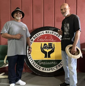Ardmore boxing trainer Garry Raymond, right, reconnects with former pupil Jesse Ramirez inside Gladiators Gym at 307 East Main St. The duo spent time walking down memory lane following their time together near Surprise, Arizona.