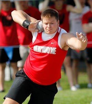 Norwayne High School's Colby Morlock competes in the shot put at the OHSAA Division III State Track Meet Friday, June 4, 2021 at Westerville North High School. TOM E. PUSKAR/TIMES-GAZETTE.COM