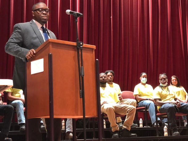 Augusta Technical College President Dr. Jermaine Whirl addresses graduates and their families at ceremonies for Construction Ready on Friday at the school.