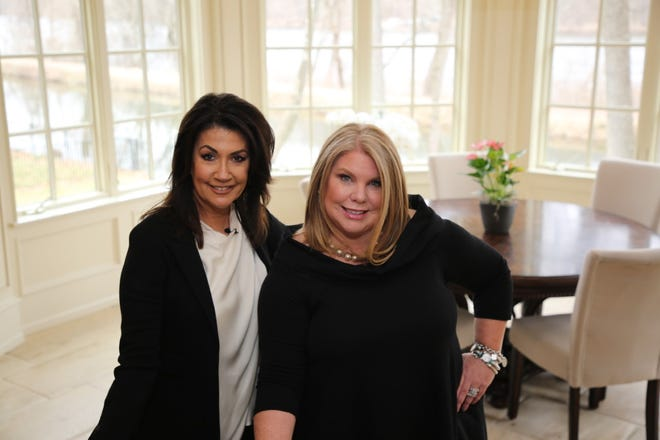 """Mortgage banker Sue Meitner (right) meets with Realtor Caryn Black at an estate for sale along the Delaware River in Solebury as they film a segment of """"Financing the American Dream."""""""
