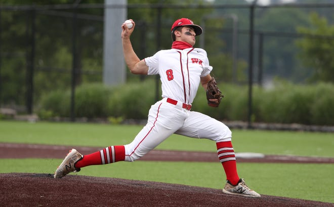 West Allegheny's Gavin Miller delivers a pitch during the first inning against Peters Township during the WPIAL 5A Conciliation game Wednesday evening at Alexandre Stadium in Washington.