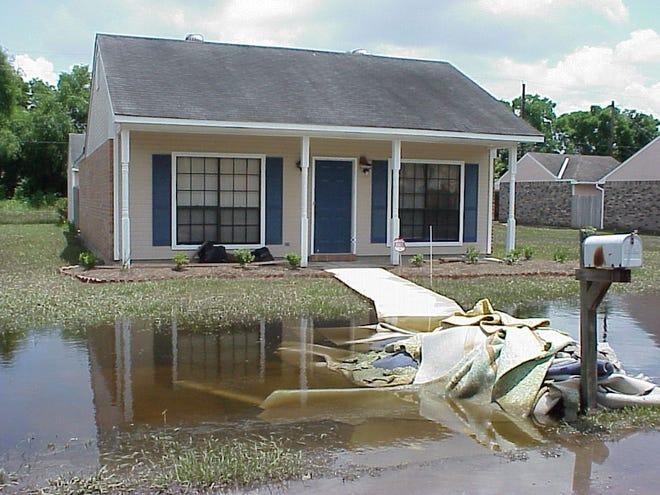 A flood-damaged home.