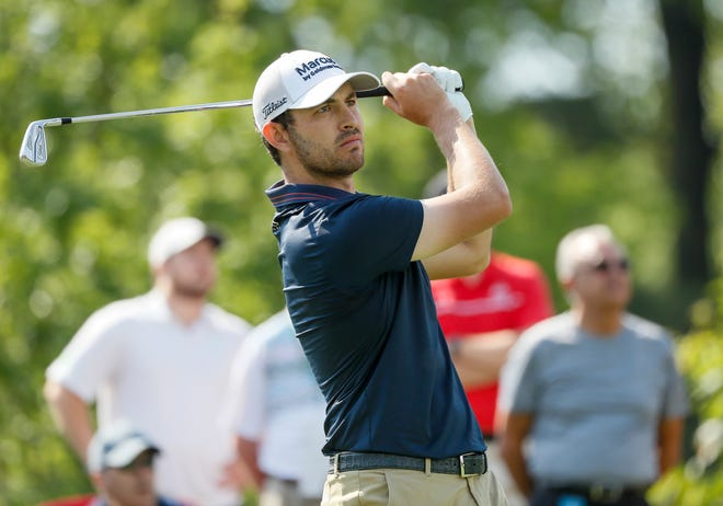 Patrick Cantlay tees off on 12 during the weather-delayed first round of the Memorial Tournament at Muirfield Village Golf Club in Dublin, Ohio on Friday, June 4, 2021.