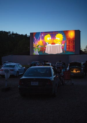 Moviegoers at Skyview Drive-In